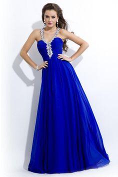 Halter Floor Length Chiffon A Line Evening Dress