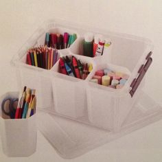 The Container Store > Medium Smart Store System Tote. To store classroom supplies Crayon Storage, Toy Storage, Marker Storage, Container Store, Art Caddy, Media Smart, Hair Tool Organizer, Office Items, Craft Organization