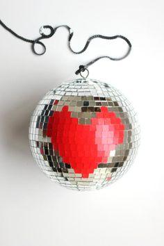Valentine Crafts : DIY Heart Disco Ball Valentine