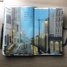 Art Journal Inspiration, Art Inspo, Art Alevel, Bullet Art, Mini Canvas Art, Marker Art, Art Sketchbook, Landscape Art, Cool Artwork