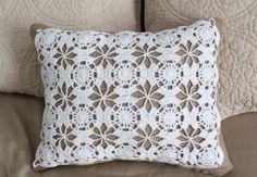 Handmade Burlap and Lace Pillow - Throw Pillow - Doiley - Rustic - Primitive