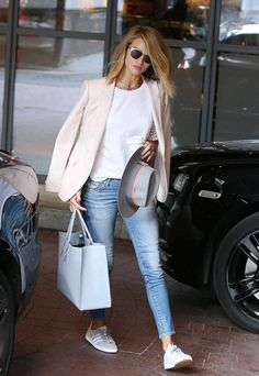 Proof that casual style can still be classy - pink/blush blazer + white tee + faded denim + sneakers
