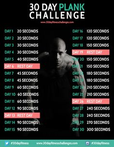 30 Day Plank Challenge Fitness Workout Chart