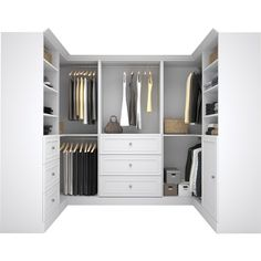 "A wardrobe as wonderful as yours should be stowed in the highest of styles! If your master suite storage is in need of a makeover, all you need is this clean-lined closet system. Crafted of particle board and laminate, it offers a versatile solid finish so as not to distract from your dresses and denim. Ready to organize your ensemble, this 107.25"" U-shaped design features six knob pull-adorned drawers, a single cabinet, 13 open shelf spaces, and five bars for hanging those more deli..."