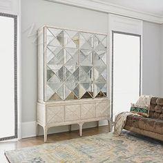 Antique Mirrored Pyramid Hutch Cabinet