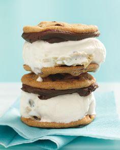Chocolate Chip Cookie Ice Cream Sandwiches - um, yes please!