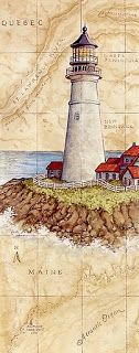Decoupage Lighthouse - beautiful plate, and Canadian to boot! Vintage Diy, Vintage Cards, Vintage Images, Foto Transfer, Lighthouse Painting, Illustration Art, Illustrations, Beacon Of Light, Old Maps