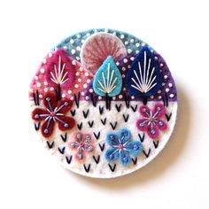 SNOWSCAPE felt brooch pin with freeform embroidery - scandinavian style