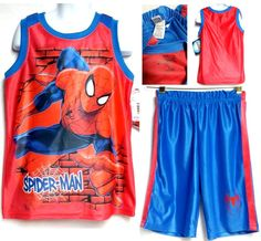 Marvel SPIDER-MAN Boy's 2Pcs SET Athletic Tank Top Shirt & Shorts (6) NWT #Marvel