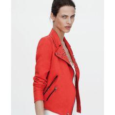 Zara Basic Red Linen Studded Moto Jacket Large