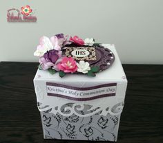 Holy Communion Exploding Box Card with Pink/Purple Theme and Flowers.