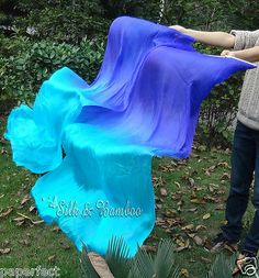 1set 2pcs Blue Turquoise Belly Dance Silk Fan Veil Thicker Silk Free Shipping | eBay