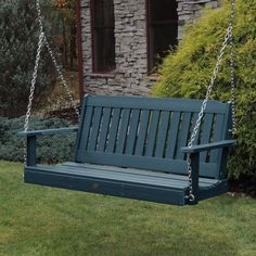 Made from synthetic wood, it gives the look of a natural grain but it repels dirt, weather, and water, making it the perfect option to leave outdoors year-round. #porchswing #afflnk #funkthishouse