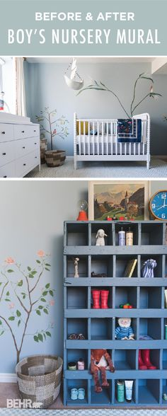 Before and After: Our baby boy nursery mural - The House That Lars Built Rustic Nursery Decor, Wood Nursery, Baby Decor, Nursery Room, Bedroom Decor, Boys Bedroom Paint, Cool Kids Bedrooms, Bedroom Paint Colors, Room Colors