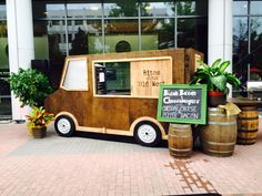 Custom built faux food trucks. Let your food service serve through the window with this adorable party prop!