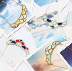 Colourful wave necklaces by Shlomit Ofir. Available at www.pinwheeljewels.com