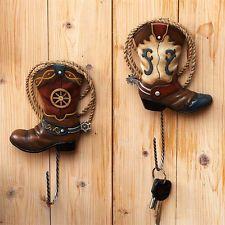 NEW Set of 2 Western Decor Cowboy boots/spurs wall hooks