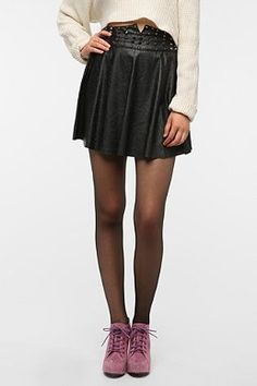 Reverse Faux Leather Studded Waist Skirt