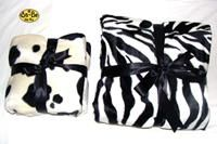 Zebra blanket - White Plush faux fur baby blanket in zebra print with white supersoft fleece reverse. 75cm x 75cm Perfect size for sitting baby on when using t