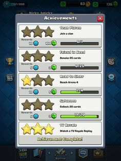 Clash Royale Achievements: screenshots, UI