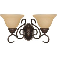 Shop Castillo 14.75-in W 2-Light Sonoma Bronze Arm Hardwired Wall Sconce at Lowes.com