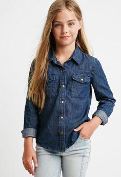 Girls Denim Western Shirt (Kids) | Forever 21 girls - 2000142751