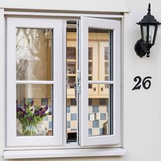 White uPVC Casement window, open looking into a kitchen Barn Windows, Cottage Windows, Front Doors With Windows, Cottage Door, Upvc Windows, House Windows, Double Casement Windows, Grey Windows, House Window Design
