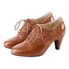 Designer Camel High Heel Lace Up Vintage Inspired Dress Oxford Shoes SKU-1090539