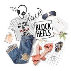 """Relax block heel"" by edita1 ❤ liked on Polyvore featuring Ray-Ban, Brock Collection, Loeffler Randall, WALL, Steve Madden, Bing Bang and blockheels"