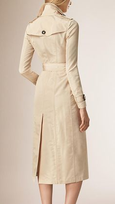 Natural Silk Faille Trench Coat - Image 3