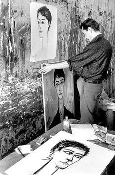 Bernard Buffet Illustrator, Muse Art, People Of Interest, Museum, Portraits, French Artists, Famous Artists, Art Studios, Artist At Work
