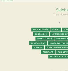 Transitions for revealing sidebar menus or off-canvas navigation systems