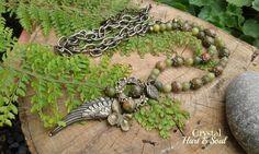 Unakite, Jade and bronze necklace  http://CrystalHartandSoul.etsy.com