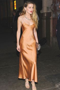 Amber Heard / slip dress by The Row