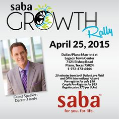 Do you live the Dallas area?  We are having a HUGE Saba Event on April 25!  Contact me at elwell.deb@gmail.com for more information!