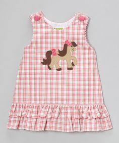 Stellybelly Pink Plaid Pony Ruffle Jumper - Infant & Girls | zulily