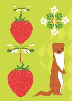Folklore strawberry postcard illustration  #strawberry #illustration #teresebast #summer