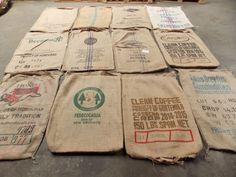 Lot of 10 Burlap/Sisal Coffee Green Cofee Bean Bags Gunny Sack Continental USA
