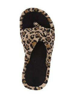 Womens Leopard Print warm Comfort Mules Slip On ladies cosy flat Slippers uk3-8