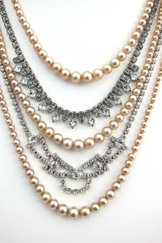 $179.00 Rhinestone and Pearl Swag Necklace