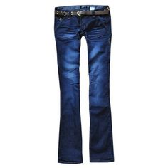 Dark blue cotton denim bootcut jeans ($46) ❤ liked on Polyvore