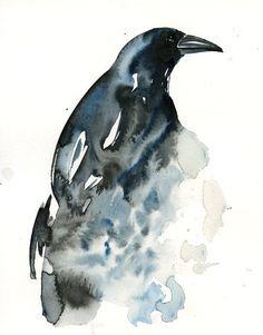 CROW Original watercolor painting 8x10inch Vertical by dimdi, $45.00