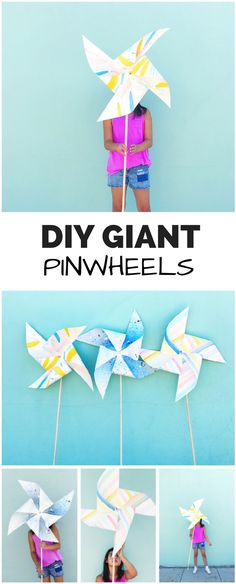 How to Make DIY Giant Painted Pinwheels. Fun and impressive party or 4th of July paper craft for kids. These actually spin and twirl!