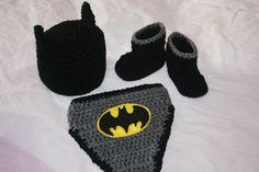 3 piece batman crochet set hat diaper cover and boots