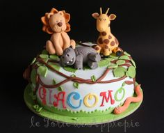 jungle cake- torta animali della Giungla 1st Birthday Cakes, Cake Decorating, Bakery, Party, Desserts, Kids, Food, Design, Tailgate Desserts