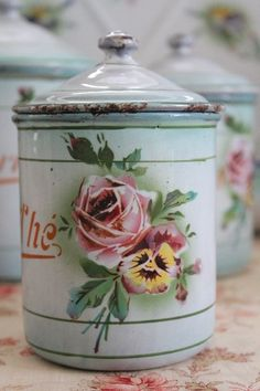 Antique Rose and Pansy Canister