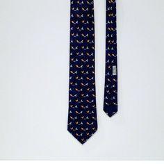 Hermes Tie Vintage Chickens and Paper Hen necktie mens Navy