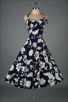 Vintage 1950's Kamehameha Hawaiian Cotton Halter Dress #fashion #floral #dress #1950s #partydress #vintage #frock #retro #sundress #floralprint #petticoat #romantic #feminine