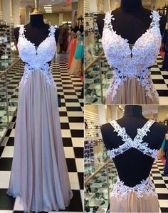 Straps Prom Dresses,2016 Evening Dresses,Backless Prom Gowns,Elegant Prom Dress,White Lace Prom Dresses,Chiffon Evening Gowns,Champagne Formal Dress