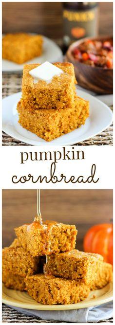 Pumpkin Cornbread (with gluten free option) - An easy recipe for moist and tender homemade pumpkin cornbread.